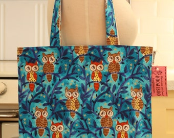Book Bag Tote Purse - Owls on Blue