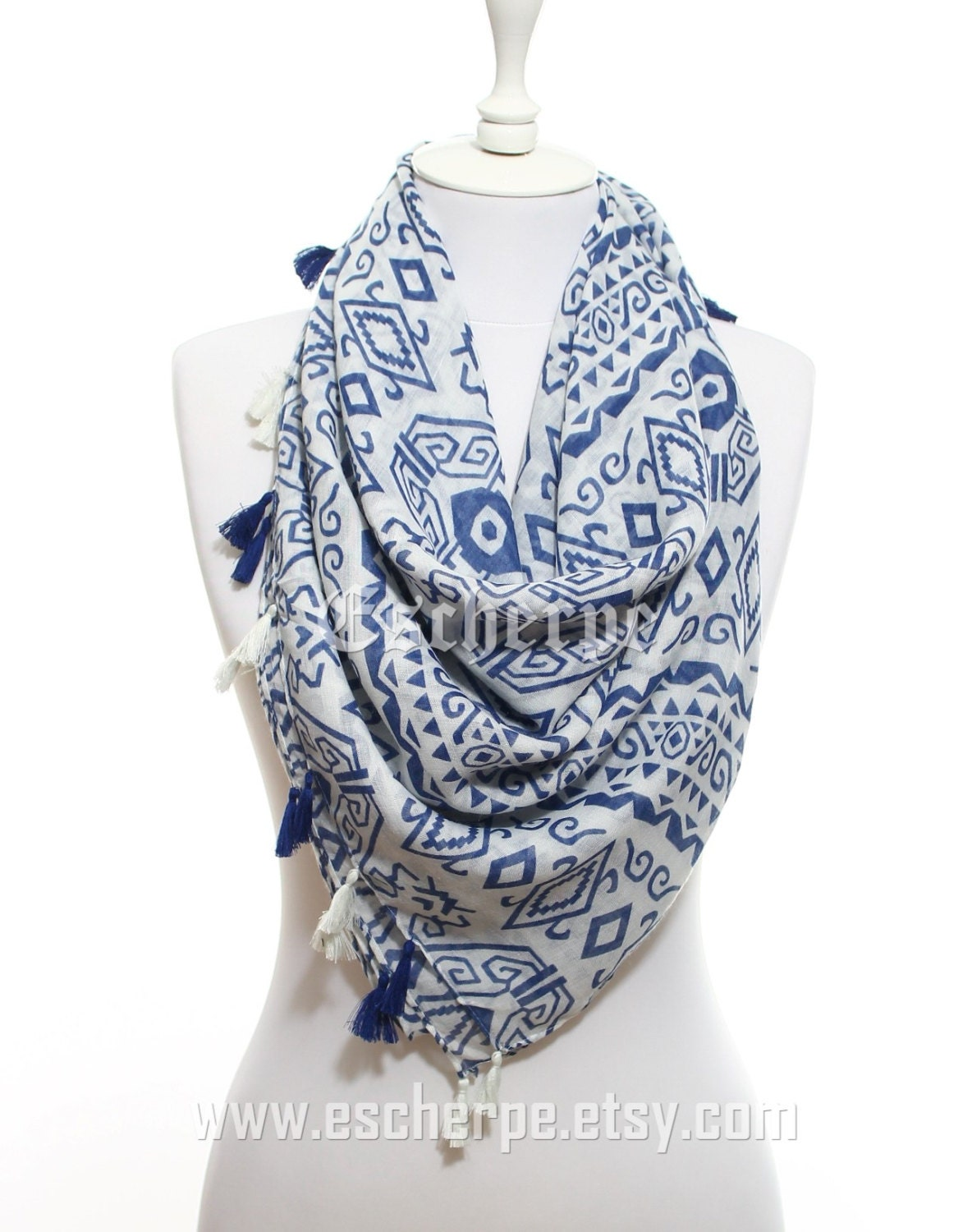 Aztec Scarf Navy White Tribal Scarf So Soft Lightweight Spring Summer Women Fashion Accessories Spring Celebrations Trend Gift Ideas For Her