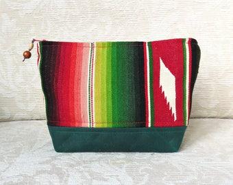 Serape coloré et toile cirée, trousse zippée, Eco Friendly, issus de pochette Textile