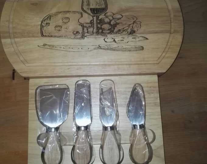 OAK wood Engraved Oval Wooden Wine Cheese Board + Knife Set Drawer #Cheese #Wine