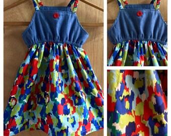 Denim and Cotton Summer Jumper Dress, Cotton, size 3t