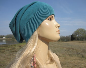 Bohemian Gypsy Clothing Lightweight Slouchy Beanie Acid Washed Cotton Knit Tam Baggy Back Blue Sea Women's Hats A1710