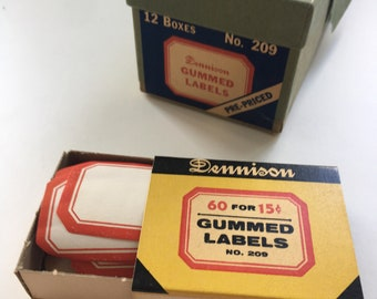 Vintage Dennison full box gummed labels