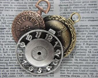 Steampunk Clock Brooch/Pendant- Steampunk Jewelry- Clocks- mixed metal jewelry