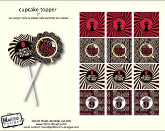 Spy Party, Detective Birthday Party, Secret Agent, Favor Tags or Cupcake Toppers
