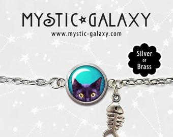 Black Cat Bracelet, Cat Charm Bracelet, Silver Finish, Peeking Cat Bracelet, Glass Dome Bracelet, Cat Jewelry
