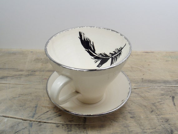 Black Feather White and Silver Porcelain Large Tea Cup & Saucer