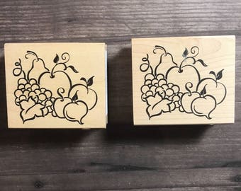 Fall Fruit Themed Small Wooden Block Stamp