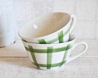 """Set of 2 Vintage French Tea Cups Green """"Torchon"""" Pattern 