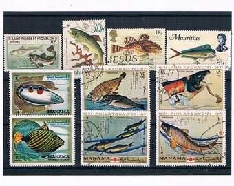 Vintage Fish Illustration Postage Stamps | freshwater fish, seafish | old postal stamps, paper ephemera for craft, upcycling, decoupage etc