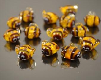 Lampwork bumble bee beads,  glass bee beads, honey bee beads, insect beads, lampwork bee, glass orange bee beads, lampwork bumble bee