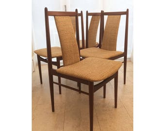 Set of 4 Mid Century Teak Dining Chairs