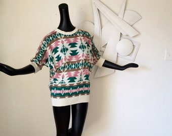 Southwest 80s Sweater Vintage 1980s Indian Blanket Navajo Aztec Pendleton Style Dolman Batwing Sleeve Tunic Sweater Pink Green Hipster Top M