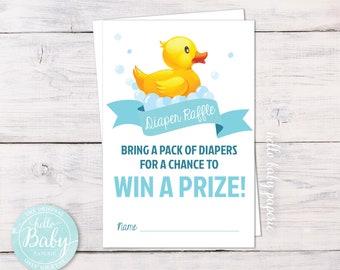 Diaper Raffle Tickets - Rubber Duck Baby Shower - Rubber Duck Diaper Raffle - Rubber Ducky Boy Baby Shower - Rubber Ducky - 0004-T