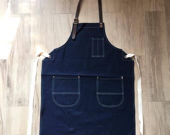 New Denim Apron w/Leather Copper rivets workwear/baristas/chefs/barbers Handmade