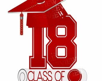 Class of 2018 clipart, MORE COLORS, red, white, graduation clip art, cap and diploma, graduate clip art, announcements, party, grad clipart