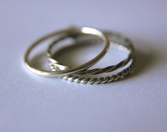 Single Band Stackable Rings Mix and Match Sterling Silver