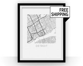 Detroit Map Print
