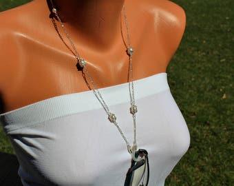Swarovski pearl and silver eyeglass chain