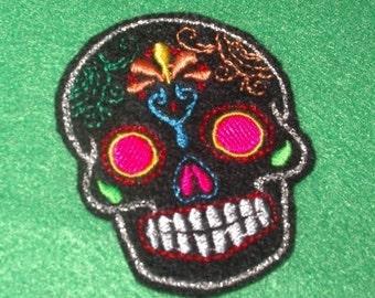 Mini Mexican Sugar Skull embroidery patch