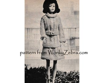 Doll knitting pattern Vintage Barbie penny doll cable sweater suit Pattern PDF 577 from ToyPatternLand and  WonkyZebra