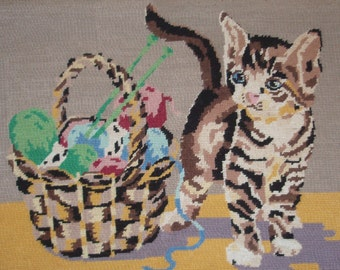 Vintage French needlepoint tapestry canvas embroidery - Kitten with basket