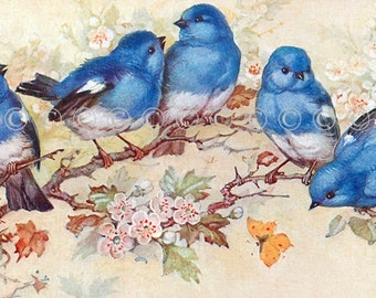 Blue Bird Applique Fabric Block Quilt Panel, Art Quilting, Sewing, Crazy Quilting, Craft Projects, Bird Cotton Fabric Applique Quilt Panel