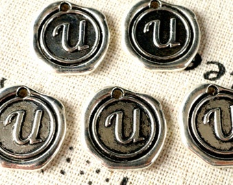Alphabet letter U wax seal charm silver vintage style jewellery supplies