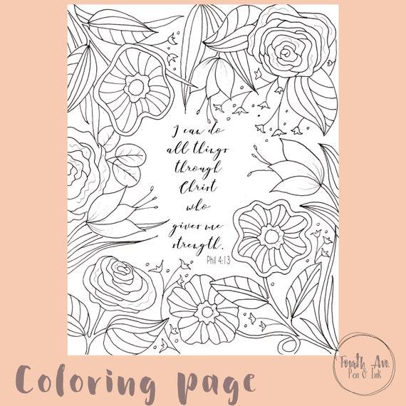 philippians 413 coloring page bible verse coloring page christian coloring page scripture coloring page - Philippians 4 6 Coloring Page