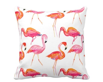 """Colorful Flamingo Pillow/Cover, Orange/Pink/White 16, 18, 20 or 26"""" Sq INDOOR or OUTDOOR Pillows/Covers, Coral/Tropical/Flamingos Print"""