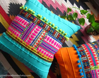 Boho Throw Pillow Turquoise - Bohemian Colorful Gypsy Cushion Cover - Home Deco