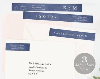 Envelope Wrap Address Label, Wraparound Label, Skinny Wrap Address, DIY Return Address Editable Address PDF Instant Download blue #SPP037wr