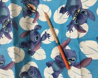 Pretty Stitch in blue pattern soft Cotton 50*110 cm 1/2 yard