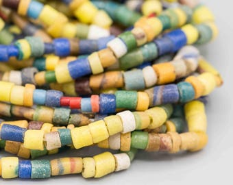"""African Recycled Glass Sandcast Beads 36"""" Strand SKU-SANDC-1"""