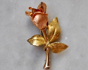 Dainty Copper and Gold Rose Pin.