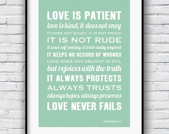 1 Corinthians 13, Bible Verse Wall art, Love is Patient Love is Kind, Wedding Poster, Inspirational Quote Print, Wedding Gift