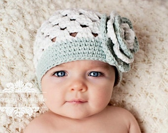 """Beanie Hat Crocheted The """"Keira"""" White, Silver Grey Dressy Casual Hat Summer Trim Flower Bright Vibrant"""