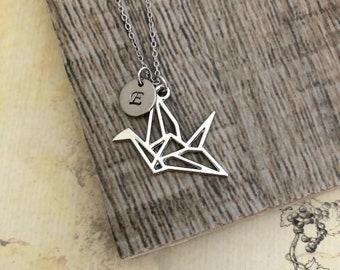 Origami Crane Necklace, Crane Necklace, Handstamped Necklace, Initial Necklace, Friendship Necklace
