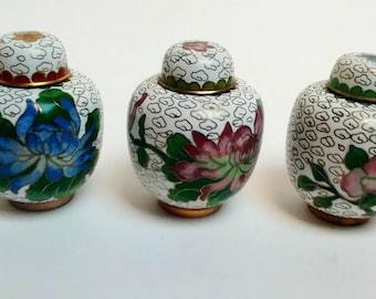 Vintage cloisonne miniture jars