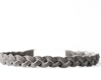Braided Leather Choker / Necklace / Gray Suede