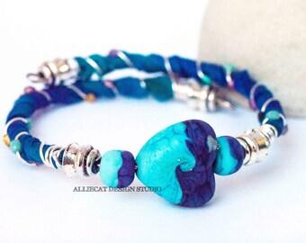 Bohemian Wrap Bracelet, Boho Wrap Bracelet,Bespoke Gypsy Blue Purple Heart Single Wrap Cuff Bracelet