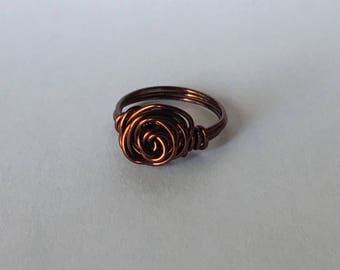 Cinnamon red rose wire wrap ring, handmade