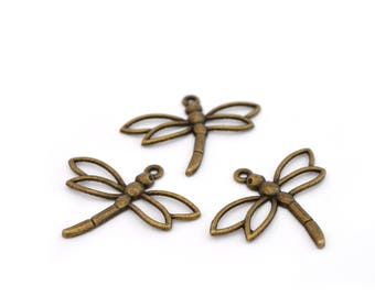 3 bronze Dragonfly charms