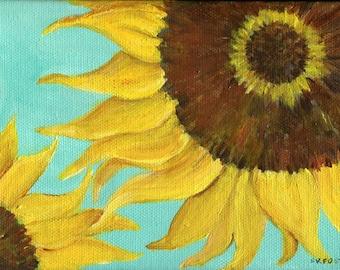 Sunflower painting, Sunflowers Art, acrylic painting, Turquoise Canvas, Flower Artwork 5 x 7 sunflower decor,  canvas art
