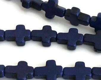 38 Blue Cross beads, Small howlite cross beads, Howlite beads, 360a