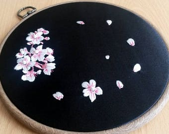 """Cherry blossoms embroidery hoop, Spring in bloom, black and pink, 8,5"""" embroidery hoop, Hand embroidered wall decoration, Made in UK"""