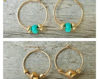 New!!tiny hoop /turquoise earrings/gold filled earrings/minimalist earrings/bicone gold earrings/11mm hoop earrings