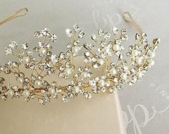 Bridal Tiara Crown/Gold Tiara/Wedding Tiara/Wedding Crown/Gold hair Crown/Gold and Crystal Tiara