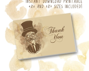 Steampunk Thank You Card |  Instant Download Printable Thank You Card |  Top Hat Gentleman Old Fashioned Thank You Card