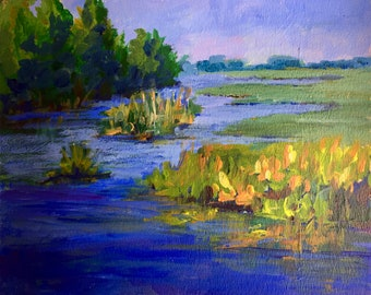 "Original Impressionist Acrylic Painting, Springing Up, 9"" x 12"